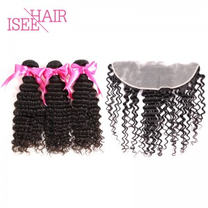 ISEE HAIR Indian Deep Curly 3 Bundles with Frontal 9A Grade 100% Human Virgin Hair unprocessed
