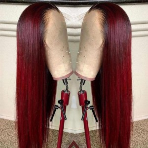 Black Roots Burgundy 99J Color Straight 13*4 Lace Front Wig | ISEE HAIR