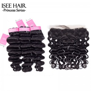 ISEE HAIR Hollywood Wave Bundles With Frontal Deal 9A Grade 100% Human Virgin Unprocessed Hair