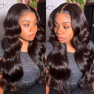 ISEE HAIR Body Wave Full Lace Wig,Pre Plucked Natural Hair Liner, 100% Human Virgin Hair Wigs