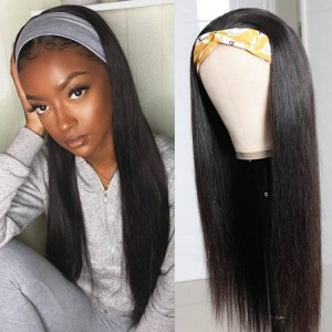 ISEEHAIR Straight Headband Wig Human Hair Glueless Wig For Black Women