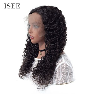 ISEE 250% Density Lace Frontal Wig Deep Curly, 100% Human Virgin Hair Deep Curly