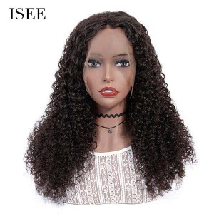 ISEE 180% Density Lace Frontal Wig Kinky Curly, 100% Human Virgin Hair Kinky Curly