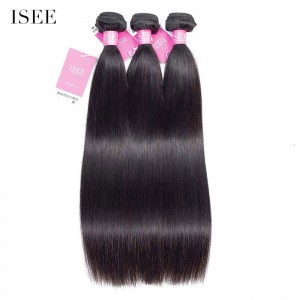 ISEE HAIR 9A Grade 100% Human Virgin Hair unprocessed Indian Straight Hair 3 Bundles Deal