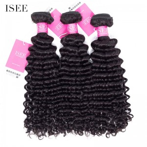 ISEE HAIR 9A Grade 100% Human Virgin Hair unprocessed Malaysian Deep Curly 3 Bundles Deal