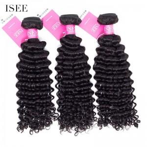 ISEE HAIR Brazilian Deep Curly 3 Bundles 9A Grade 100% unprocessed Human Virgin Hair