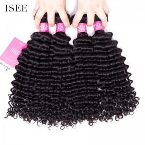 ISEE HAIR 9A Grade 100% Human Virgin Hair unprocessed Peruvian Deep Curly 4 Bundles Deal