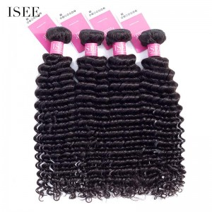 ISEE HAIR 9A Grade 100% Human Virgin Hair unprocessed Indian Deep Curly 4 Bundles Deal