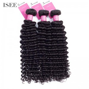ISEE HAIR 9A Grade 100% Human Virgin Hair unprocessed Peruvian Deep Curly 3 Bundles Deal