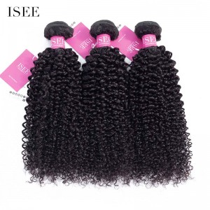 ISEE HAIR 9A Grade 100% Human Virgin Hair unprocessed Indian Kinky Curly 3 Bundles Deal