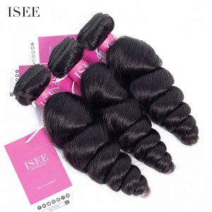ISEE HAIR 9A Grade 100% Human Virgin Hair unprocessed Peruvian Loose Wave 3 Bundles Deal