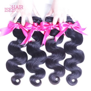 ISEE HAIR 10A Grade 100% Human Virgin Hair unprocessed Peruvian Body Wave 4 Bundles Deal