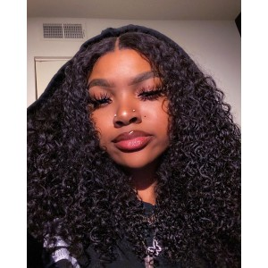 ISEEHAIR Kinky Curly Tpart Wig Human Hair Natural Black Color Lace Part Wig with Natural Hairline