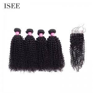 ISEE HAIR 10A Grade 100% Human Virgin Hair Kinky Curly 4 Bundles with Closure Deal