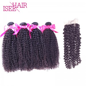 ISEE HAIR 10A Grade 100% Human Virgin Hair Indian Kinky Curly 4 Bundles with Closure Deal
