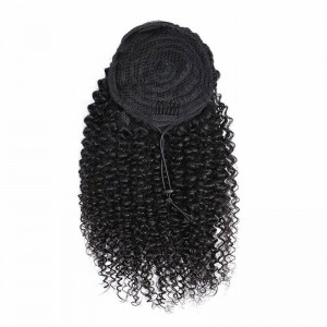 Drawstring Ponytail Extension Hair Kinky Curly Ponytail With Clip In 100% Human Hair