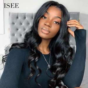 ISEE HAIR Loose Wave Full Lace Wig,Pre Plucked Natural Hair Liner with Baby Hair, 100% Human Virgin Hair Wigs