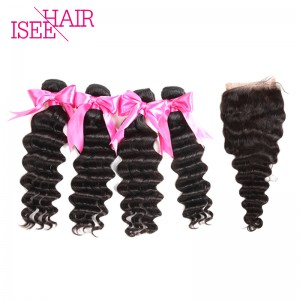 ISEE HAIR 10A Grade 100% Human Virgin Hair Peruvian Loose Deep 4 Bundles with Closure Deal