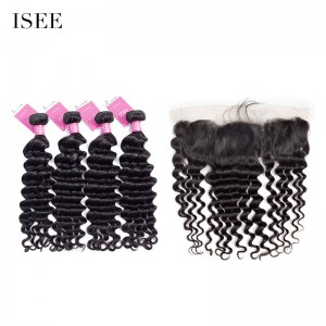 ISEE HAIR 9A Grade 100% Human Virgin Hair unprocessed Indian Loose Deep 4 Bundles with Frontal Deal