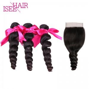 ISEE HAIR 10A Grade 100% Human Virgin Hair Peruvian Loose Wave 3 Bundles with Closure Deal
