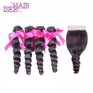 ISEE HAIR 10A Grade 100% Human Virgin Hair Peruvian Loose Wave 4 Bundles with Closure Deal
