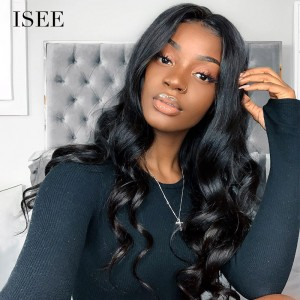 ISEE HAIR Loose Wave Lace Front Wig, Pre Plucked Natural Hair Liner with Baby Hair, 100% Human Virgin Hair Wigs