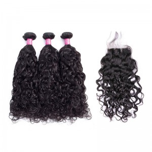ISEE HAIR 10A Grade 100% Human Virgin Hair Natural Wave 3 Bundles with Closure Deal
