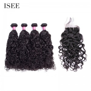 ISEE HAIR 10A Grade 100% Human Virgin Hair Natural Wave 4 Bundles with Closure Deal