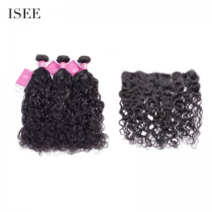 ISEE HAIR 9A Grade 100% Human Virgin Hair unprocessed Indian Natural Wave 3 Bundles with Frontal Deal