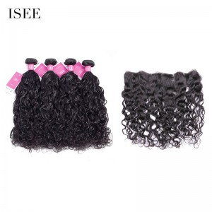 ISEE HAIR 9A Grade 100% Human Virgin Hair unprocessed Peruvian Natural Wave 4 Bundles with Frontal Deal