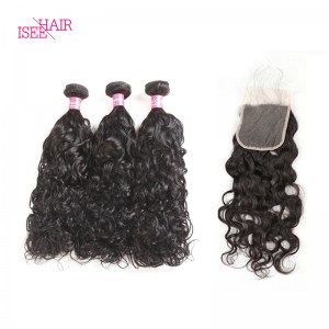 ISEE HAIR 10A Grade 100% Human Virgin Hair Peruvian Natural Wave 3 Bundles with Closure Deal
