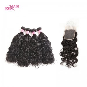 ISEE HAIR 10A Grade 100% Human Virgin Hair Peruvian Natural Wave 4 Bundles with Closure Deal