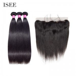 ISEE HAIR 10A Grade 100% Human Virgin Hair Straight Hair 3 Bundles with Frontal Deal