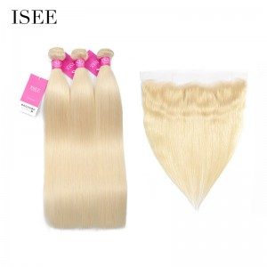 ISEE HAIR 613 Blonde Human Virgin Hair Straight Frontal with 3 or 4 Bundles Per Pack