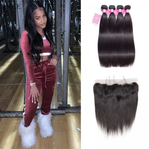 ISEE HAIR Indian Straight Hair 4 Bundles with Frontal Deal 9A Grade 100% Human Virgin unprocessed Hair