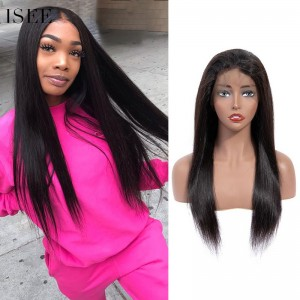 ISEE 180% Density Lace Frontal Wig Straight, 100% Human Virgin Hair Straight