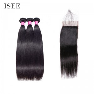 ISEE HAIR 10A Grade 100% Human Virgin Hair Straight Hair 3 Bundles with Closure Deal