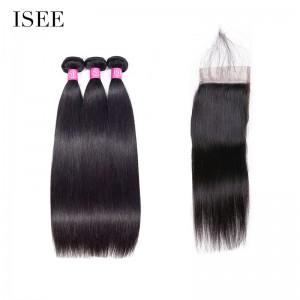 ISEE HAIR 10A Grade 100% Human Virgin Hair Straight Hair 3 Bundles with Closure Deal