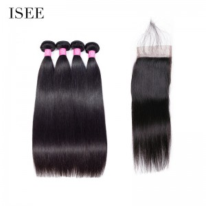 ISEE HAIR 10A Grade 100% Human Virgin Hair Straight Hair 4 Bundles with Closure Deal