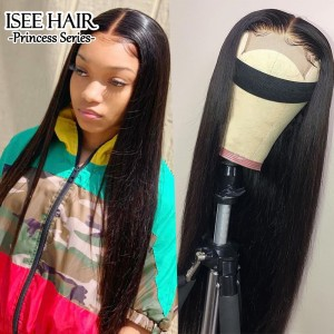 ISEE HAIR New Arrival Lace Closure Wigs, Natural Black Silky Straight Lace Wigs