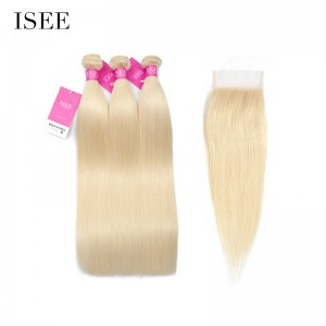ISEE HAIR 613 Blonde Human Virgin Hair Straight Closure with 3 or 4 Bundles per pack