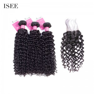 ISEE HAIR 9A Grade 100% Human Virgin Hair Mongolian Water Wave 3 Bundles with Closure Deal