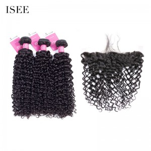 ISEE HAIR 9A Grade 100% Human Virgin Hair unprocessed Mongolian Water Wave 3 Bundles with Frontal Deal