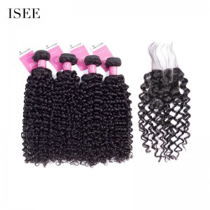 ISEE HAIR 9A Grade 100% Human Virgin Hair Mongolian Water Wave 4 Bundles with Closure Deal