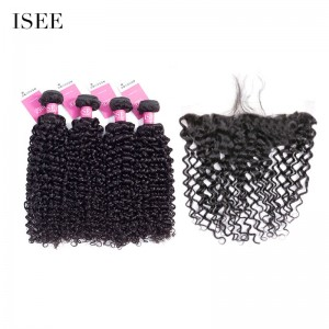 ISEE HAIR 9A Grade 100% Human Virgin Hair unprocessed Mongolian Water Wave 4 Bundles with Frontal Deal