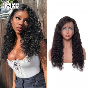 ISEE HAIR Water Wave Lace Front Wig,Pre Plucked Natural Hair Liner with Baby Hair, 100% Human Virgin Hair Wigs