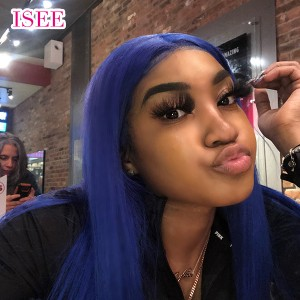 ISEE HAIR Blue Hair Wig Gorgeous Body Wave 13x4 Lace Front Human Hair Wigs for Women with Baby Hair