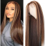 ISEEHAIR TL4/12# Piano Color Highlight Wigs Brown and Blonde Silky Straight Lace Front Wig for Black Women