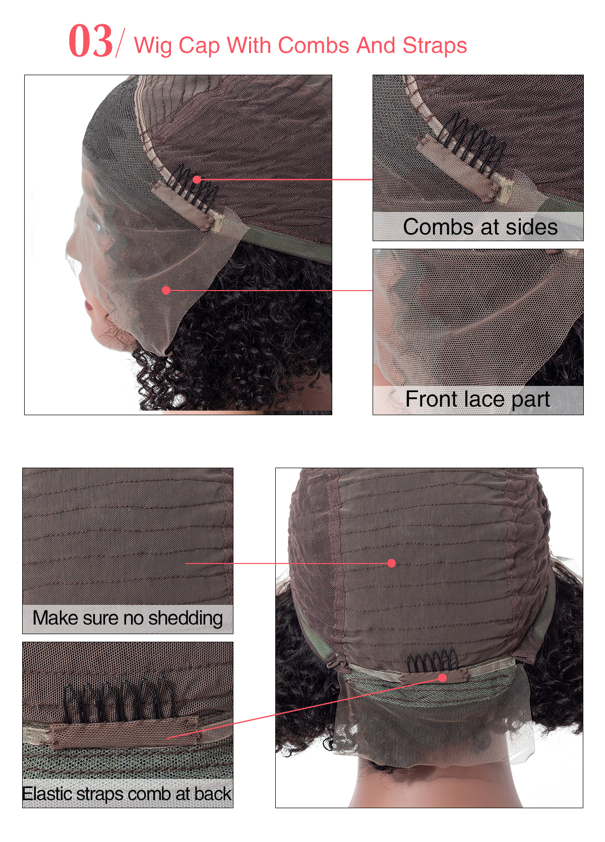 Details about teh inside part of the curly bob wig, the wigs caps, wig combs, front lace part and sew in part